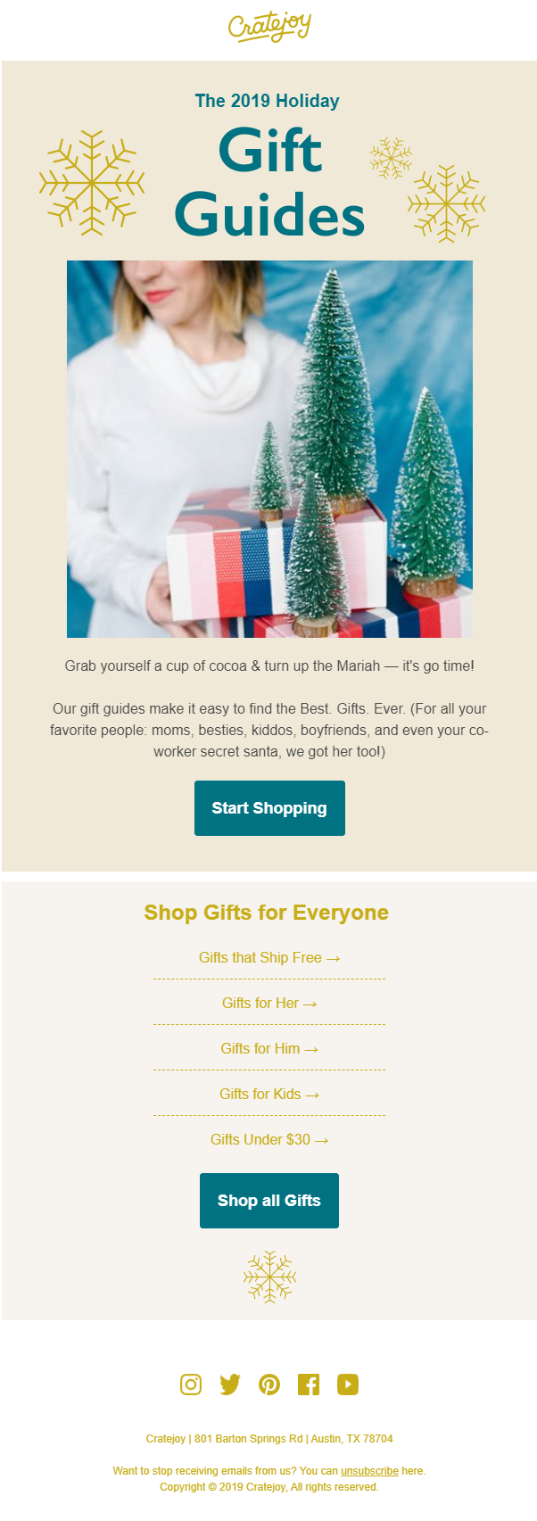cratejoy xmas email template