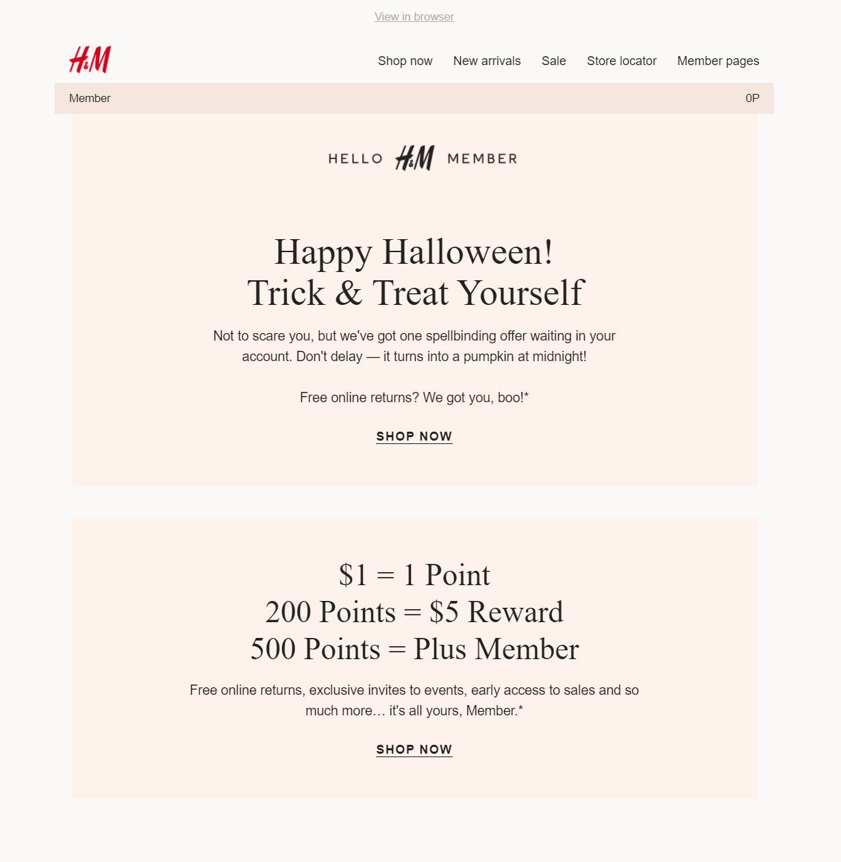 h&m halloween loyalty email campaign