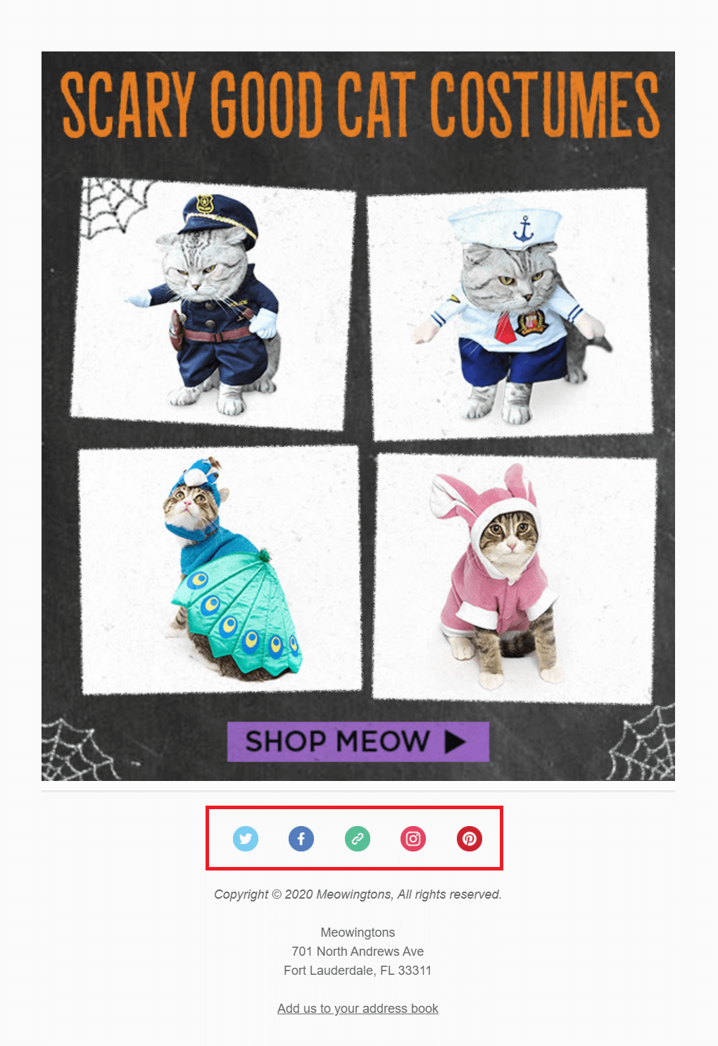 meowingtons social buttons on email