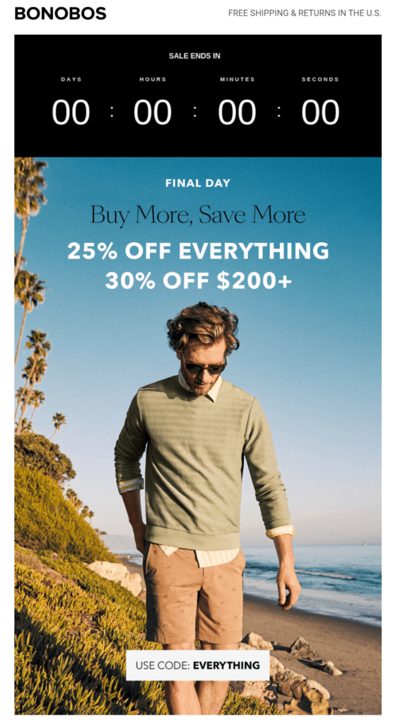 countdown timer in email campaign by Bonobos
