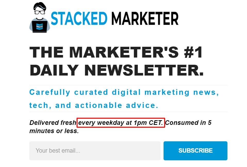 Stacked Marketer sign up box email marketing best practice