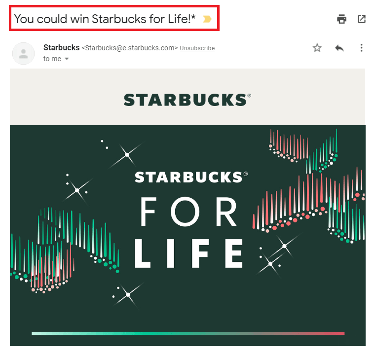 Email marketing best practice for subject lines by Starbucks