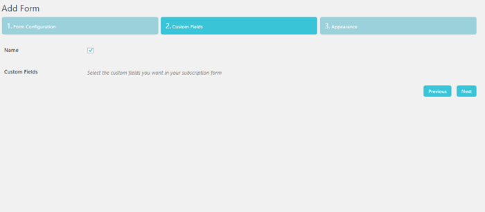 subscription form with custom fields