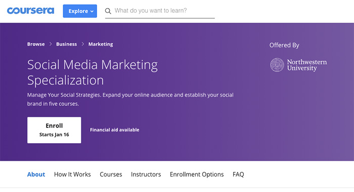 social media marketing course by coursera