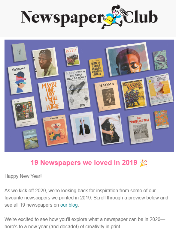 newspaper club yearly recap email