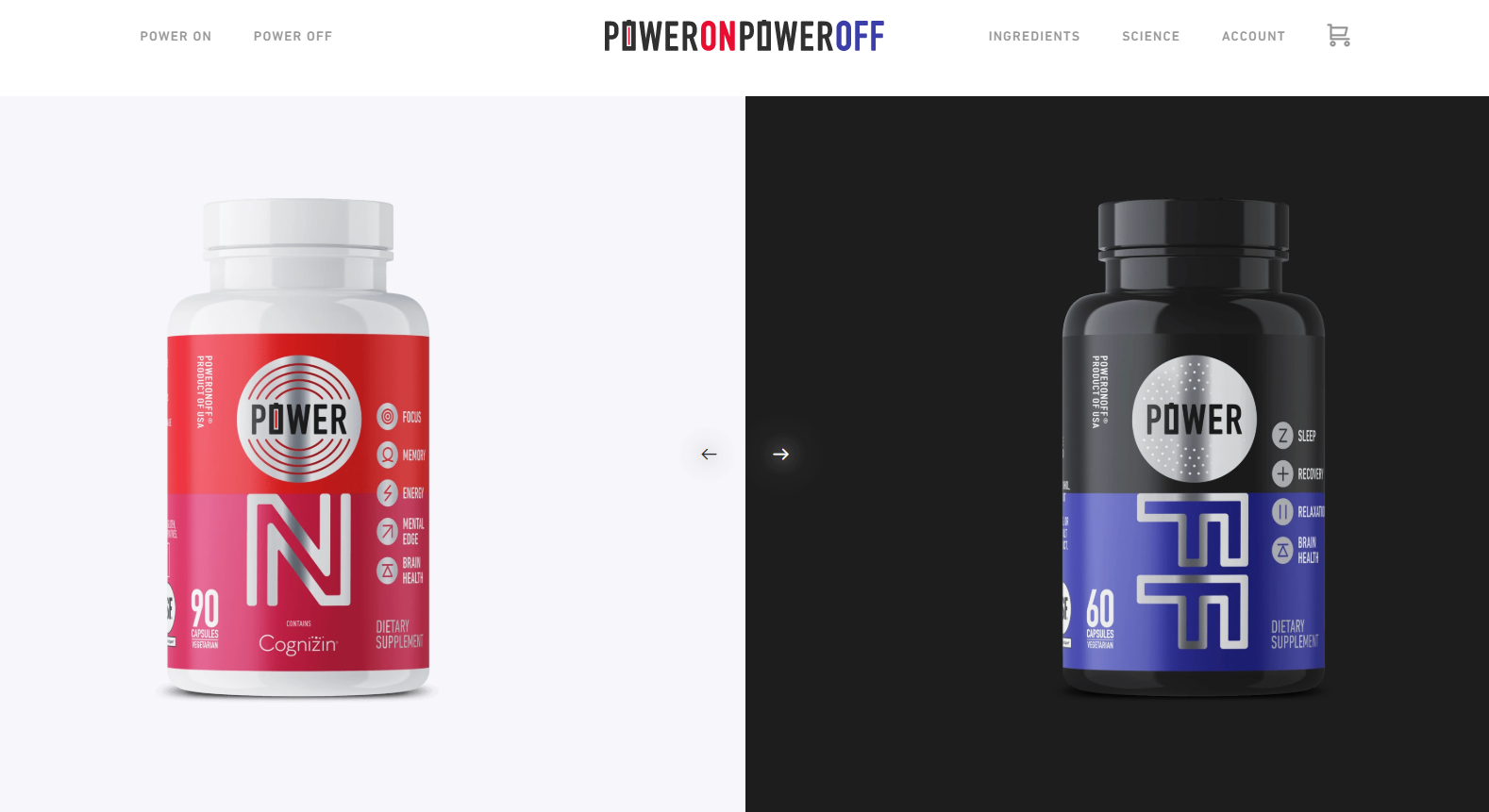 power on power off ecommerce homepage design