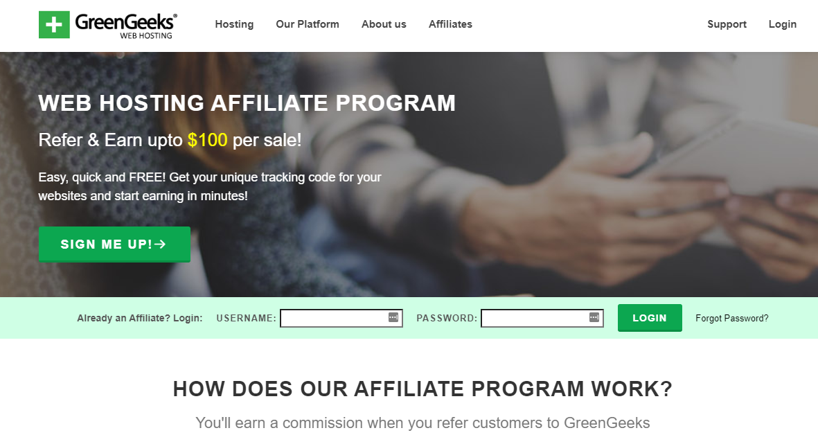 This is Greengeeks web hosting affiliate program page