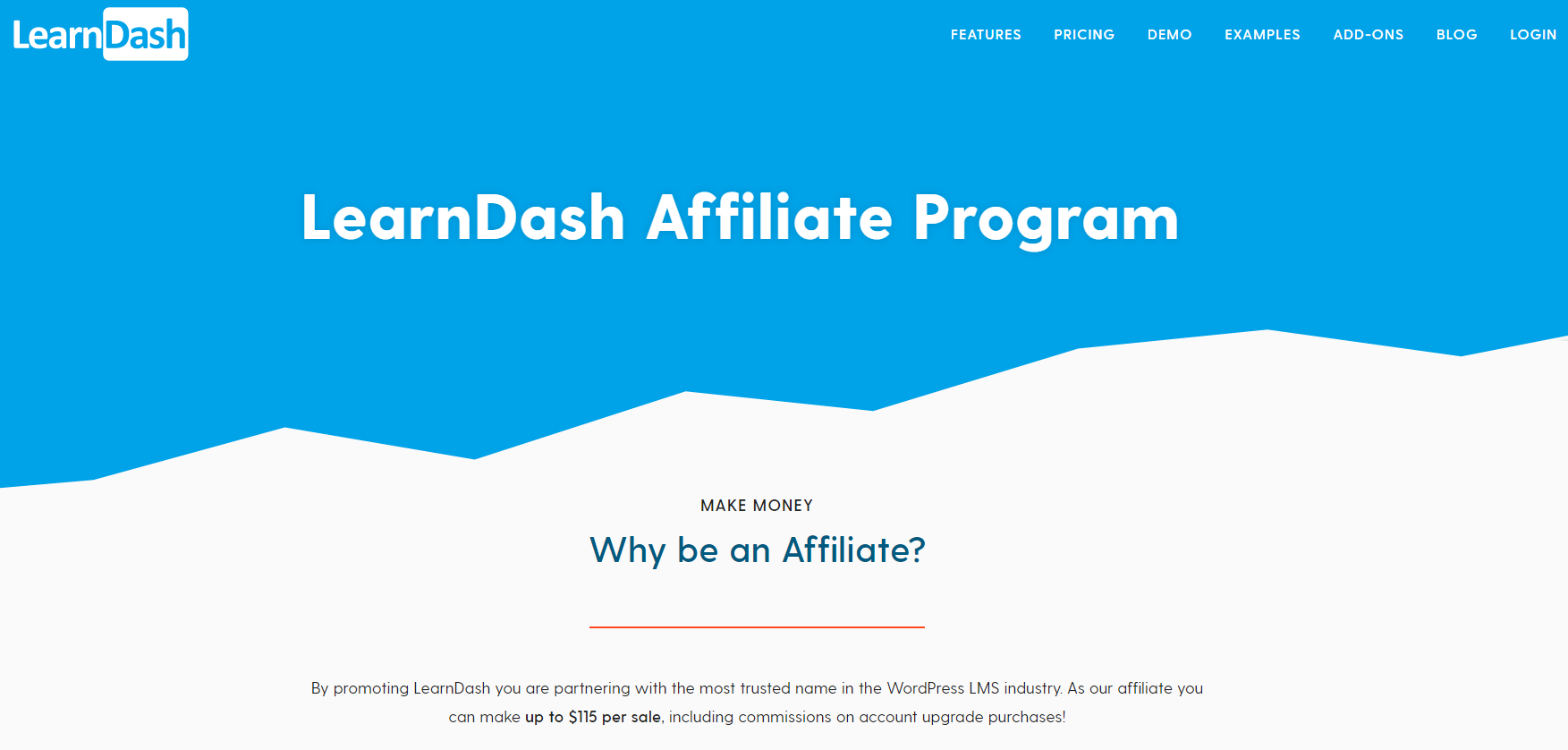 LearnDash's affiliate program asks their visitors why be an affiliate and the profit you can make simply by joining their online course affiliate program