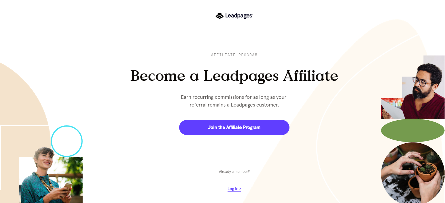 LeadPages' marketing affiliate program page has all the information you need to join