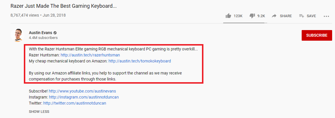 This is an example of how Youtubers use their Amazon Associates links in their video description to boost affiliate sales