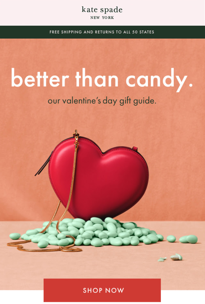Kate Spade implements some of the best email marketing best practices to create an early drip campaign for Valentine's Day