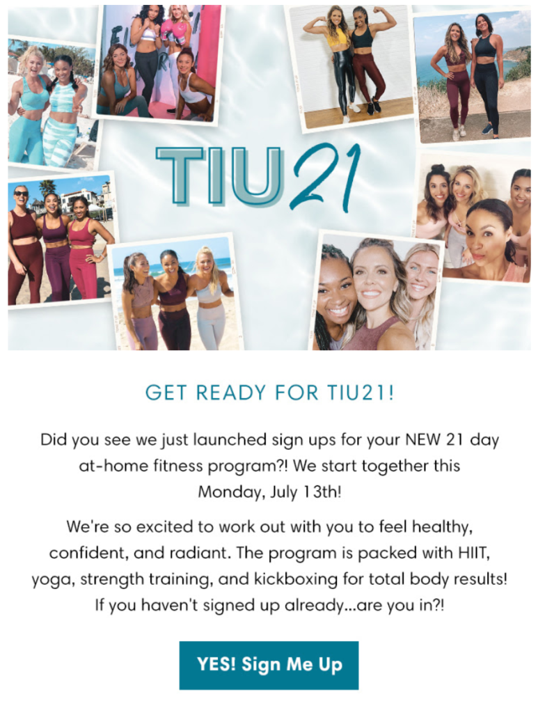 Tone It Up has created a 21-day challenge drip campaign to inspire subscribers to improve their well-being