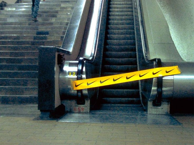 In this image Nike promotes its brand identity through a relevant guerilla marketing campaign