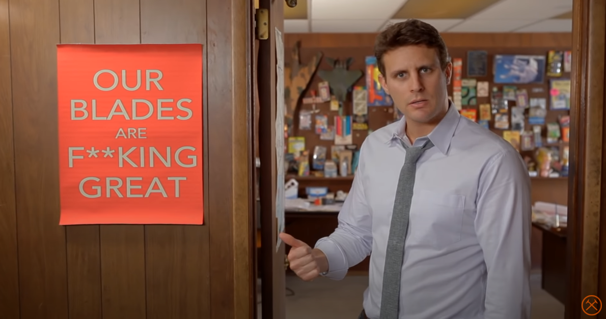 In this image you can see a still from the Dollar Shave Club's viral guerilla marketing strategy