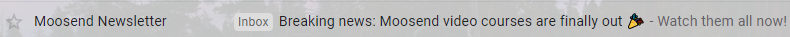 This image shows Moosend's email copy for a subject line and preview text