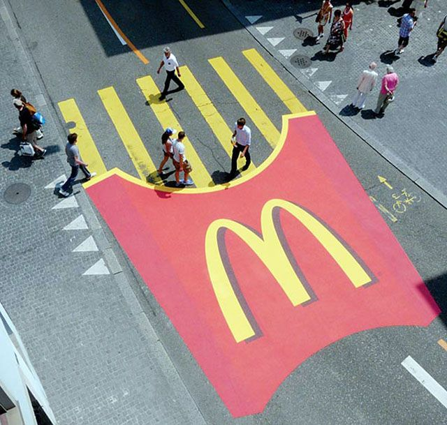 McDonald's uses a street guerilla marketing idea to capture its target audience's attention and boost sales