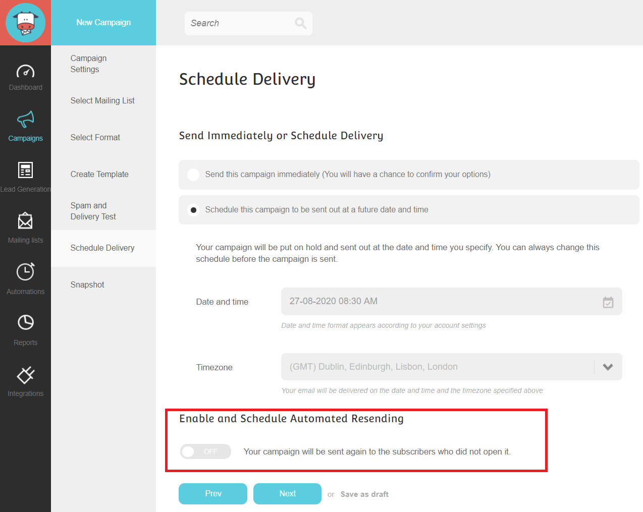In this picture you can see how you can schedule an email campaign to achieve a consistent schedule avoiding the unwanted results of an email blast