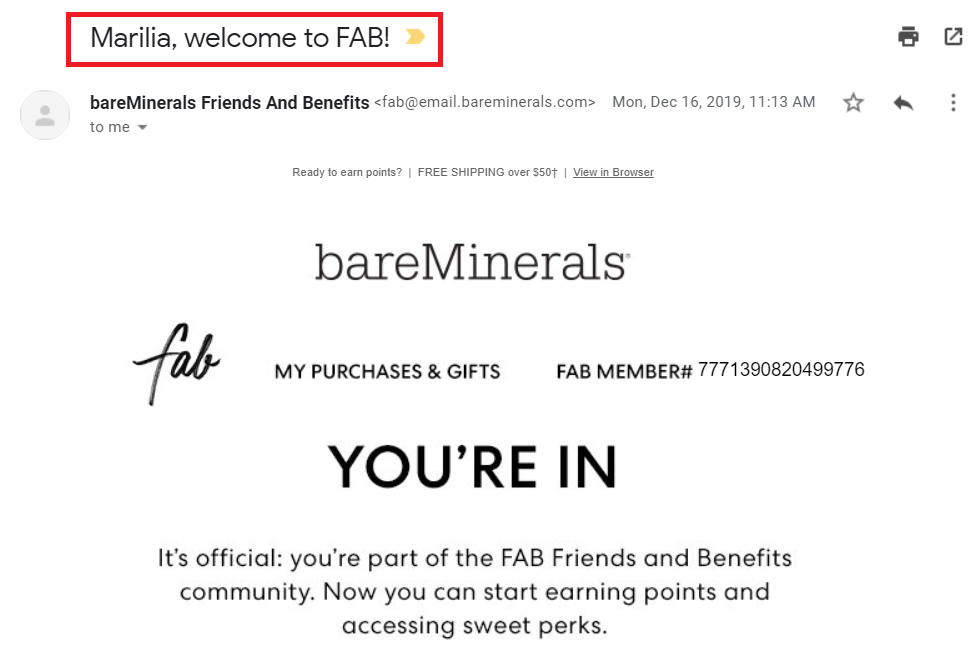 As shown by bareMinerals' example personalized messages are more relatable and effective compared to email blasts