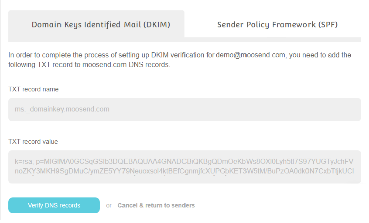 moosend ensures the deliverability of your email campaigns through DKIM and SPF