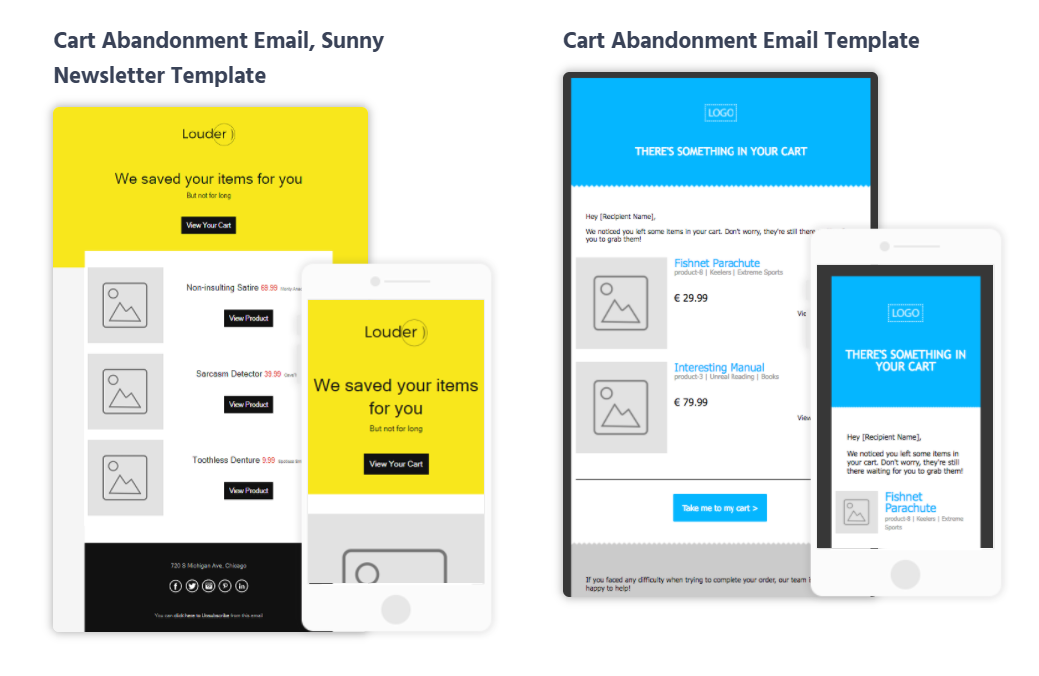 cart abandonment email newsletter templates