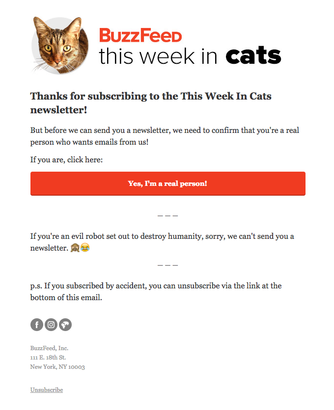 best confirmation email marketing examples Buzzfeed