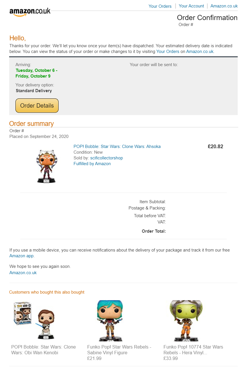 cross-sell email marketing examples by Amazon