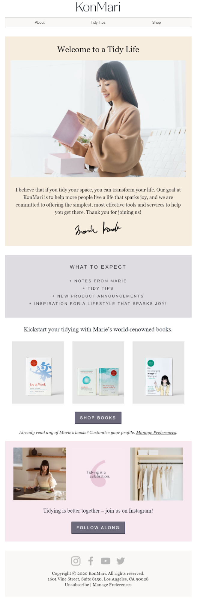 welcome email marketing example by KonMari