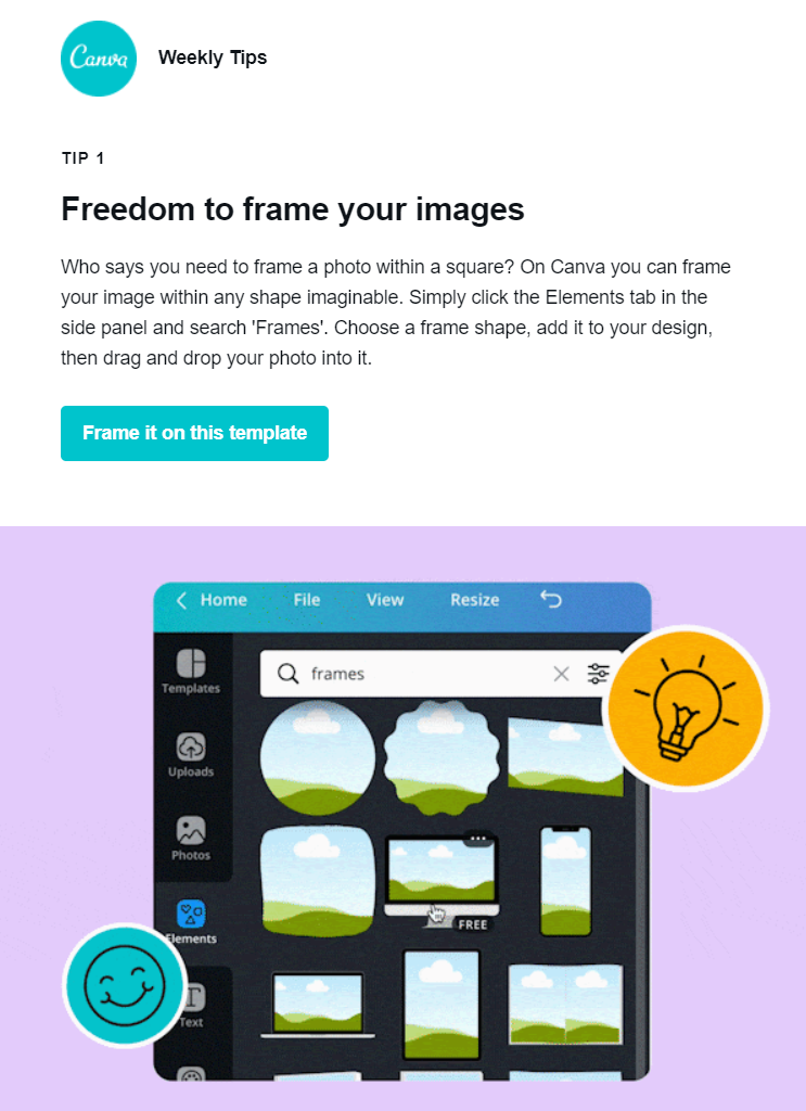 educational email newsletter examples by canva