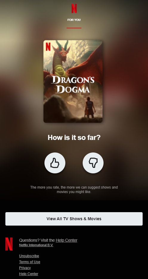 personalized email campaign by Netflix
