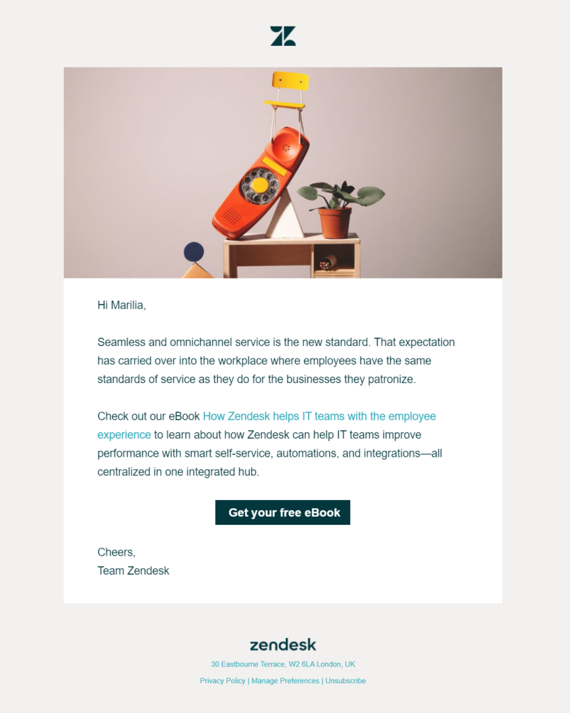 zendesk email example of ebook promotion
