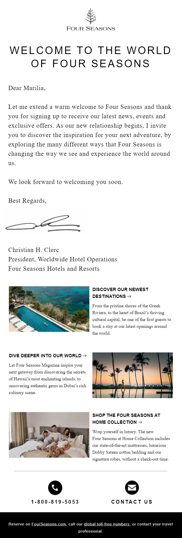 welcome sequence by four seasons