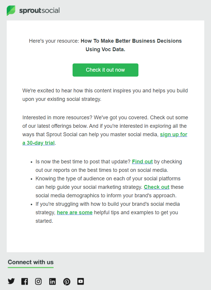 Sproutsocial automated thank you email