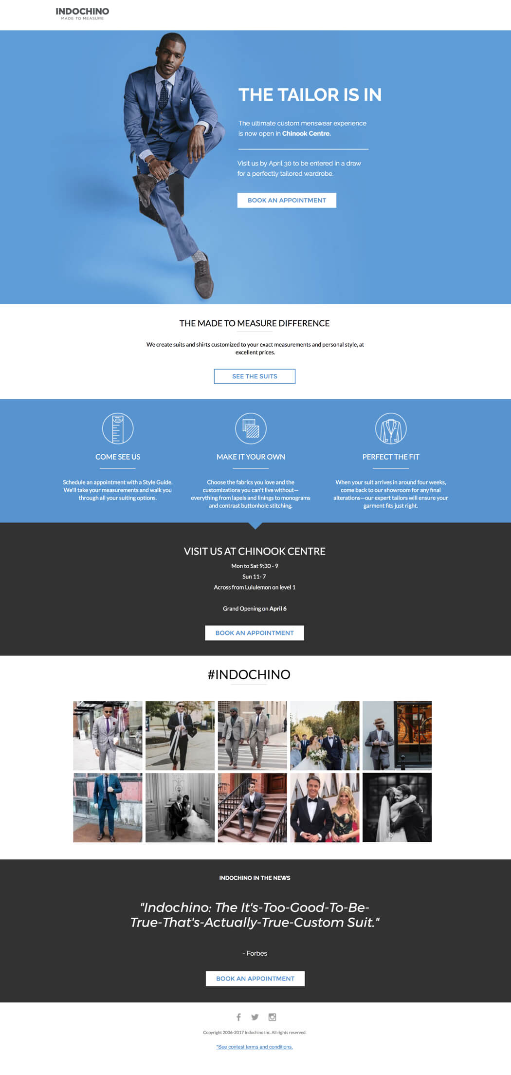 indochino landing page example