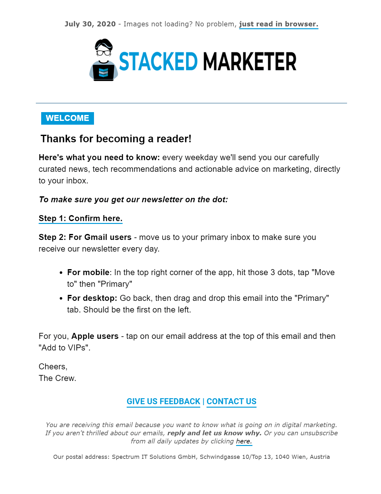 stacked marketer welcome template