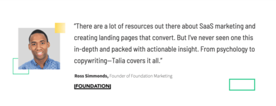 unbounce landing page testimonial