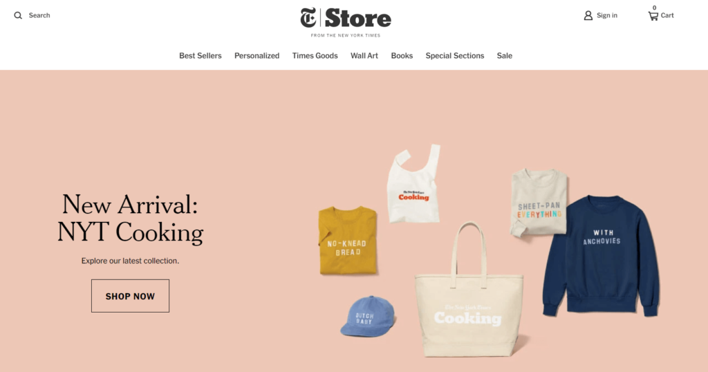 Homepage of The New York Times ecommerce site