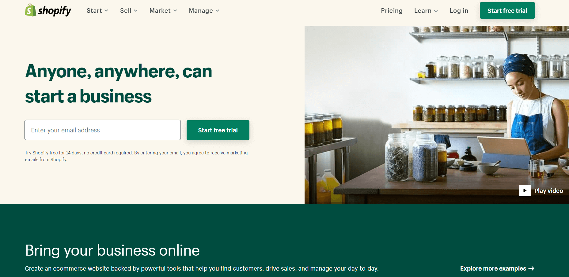 Shopify's homepage