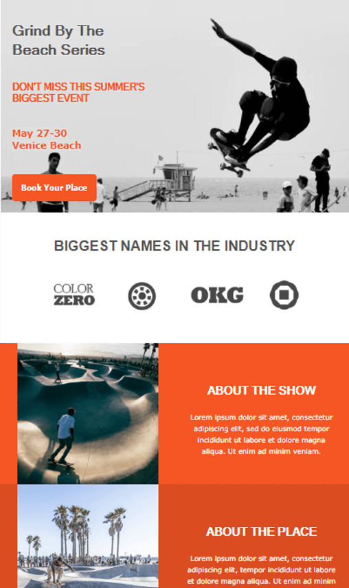 event invitation email newsletter example