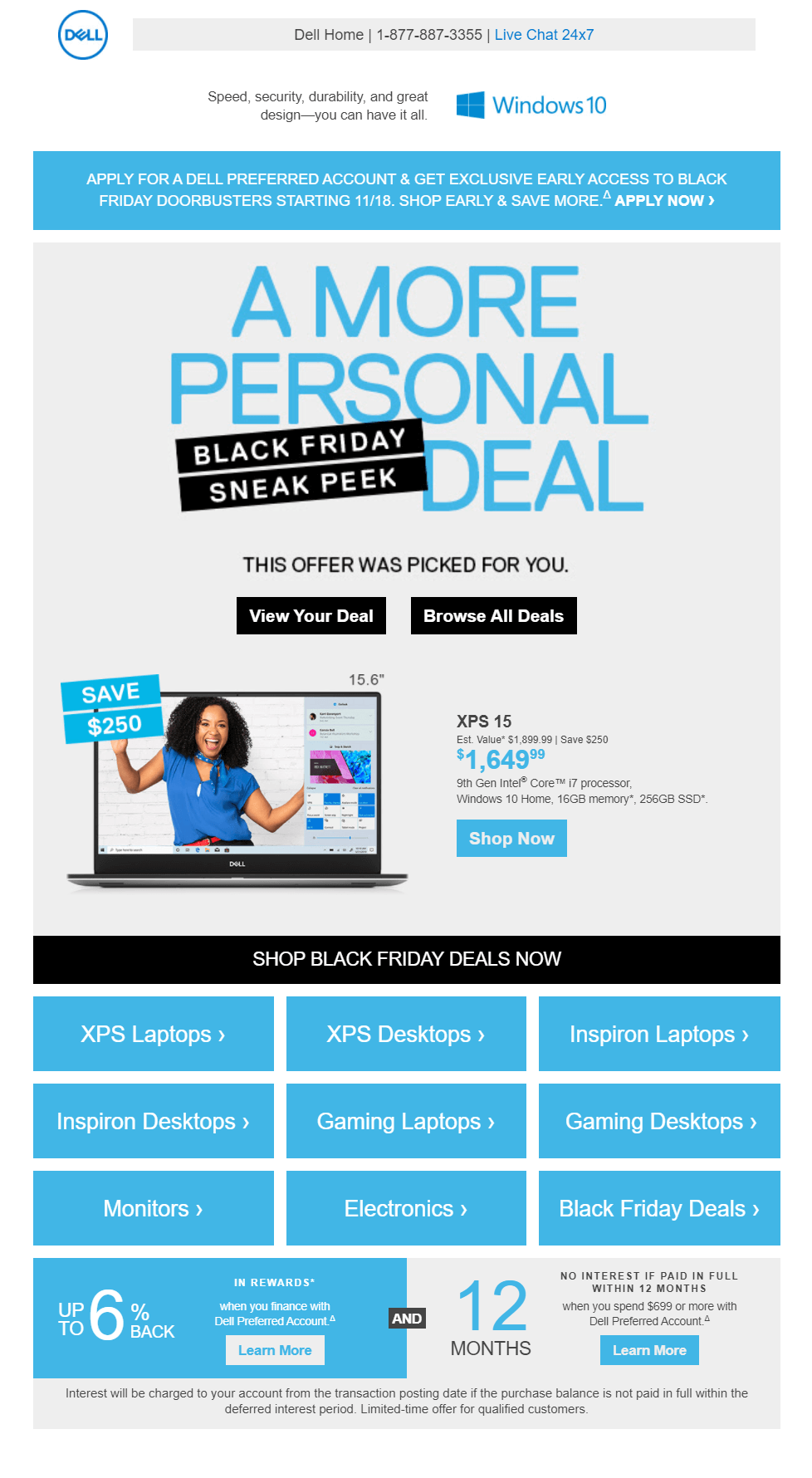 dell pre holiday email for offers