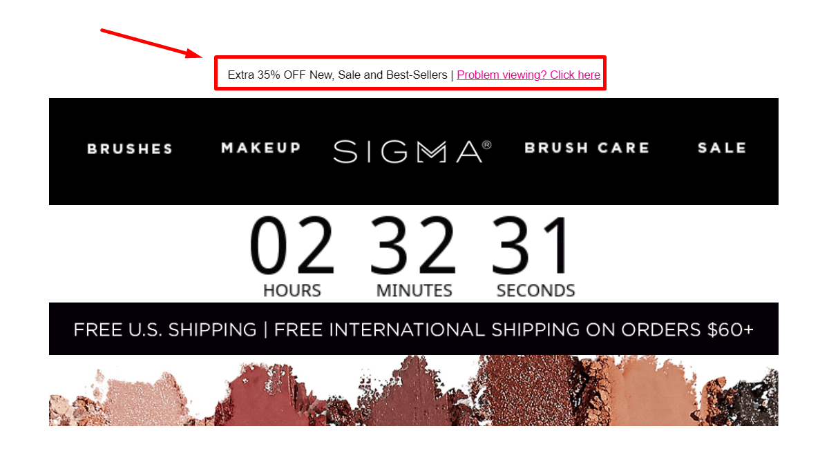 email sizes preheader example sigma beauty